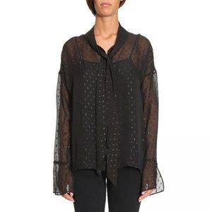 Theory Metallic Silk Blend Scarf shirt black